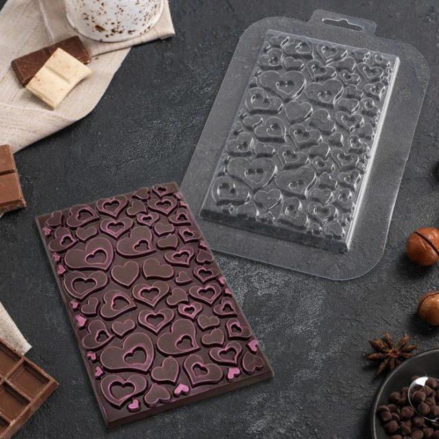 Форма для шоколада «Плитка в сердечках»
