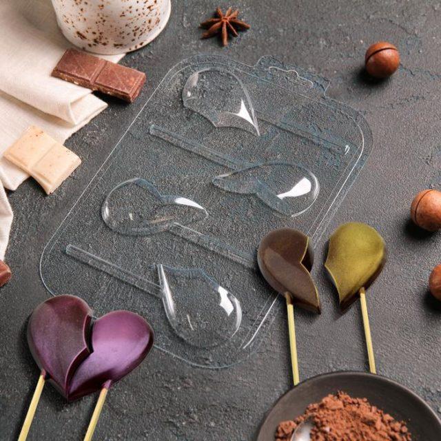 Форма для шоколада «Половинки. Сердца на палочке»