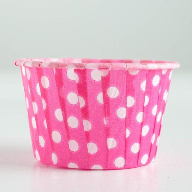 Капсулы для капкейков и маффинов - розовые белый горох