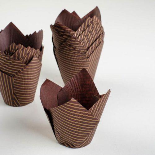 Форма-тюльпан для выпечки коричневая, золотые линии