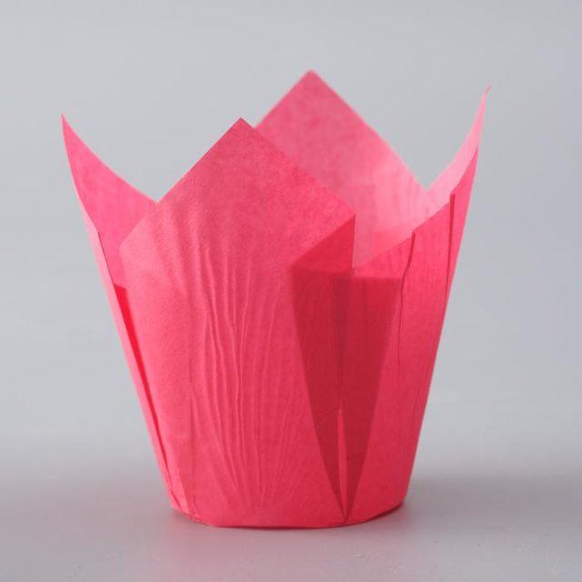 Форма-тюльпан для выпечки тёмно-розовая