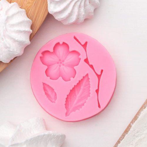 Молд силиконовый «Цветок, лист и веточка»