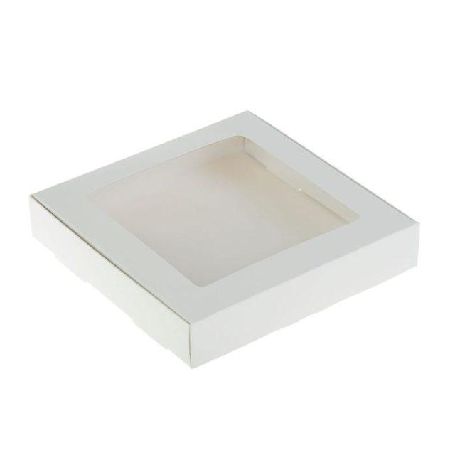 Коробка для десертов 16×16×3 см белая