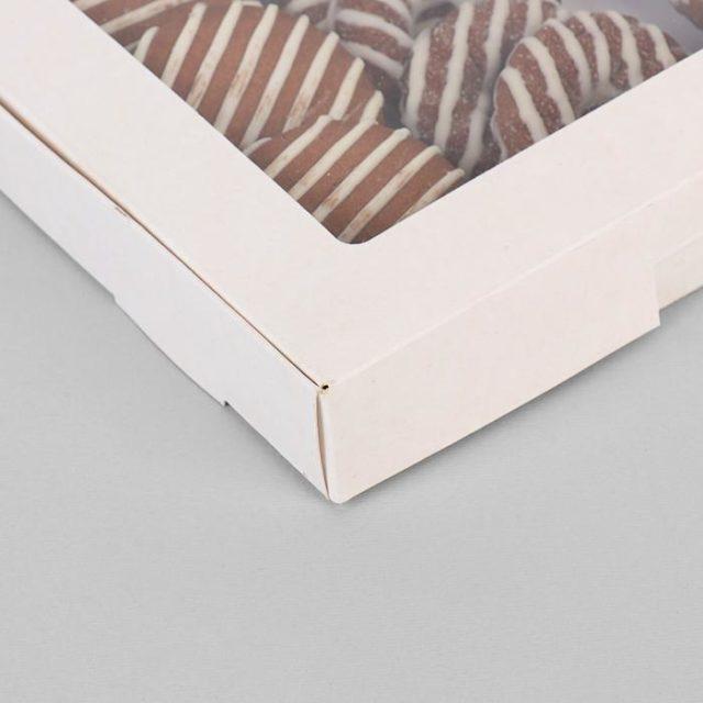 Коробка для десертов 21×21×3 см белая