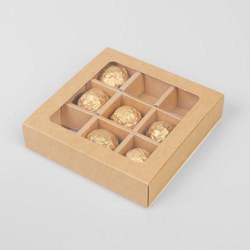 Коробка для конфет крафт 9 ячеек
