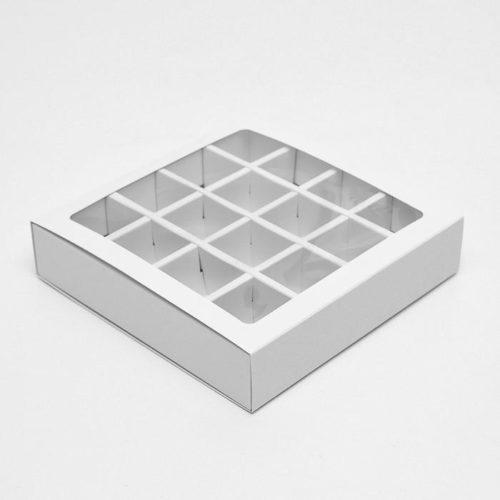 Коробка для конфет белая 16 ячеек
