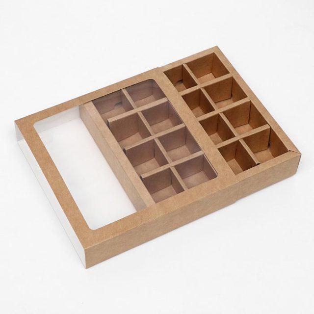 Коробка для конфет крафт 16 ячеек