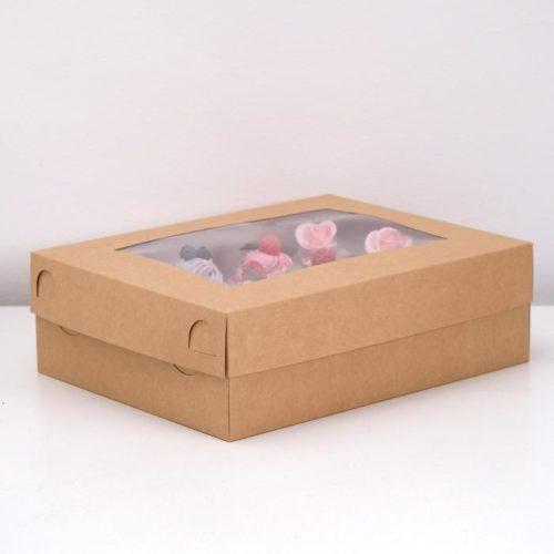 Коробка на 12 капкейков с окном - крафт