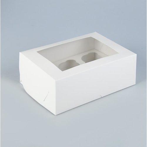 Коробка на 6 капкейков с окном - белая