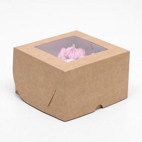 Коробка на 4 капкейка с окном - крафт