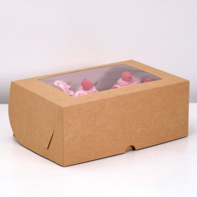 Коробка на 6 капкейков с окном - крафт