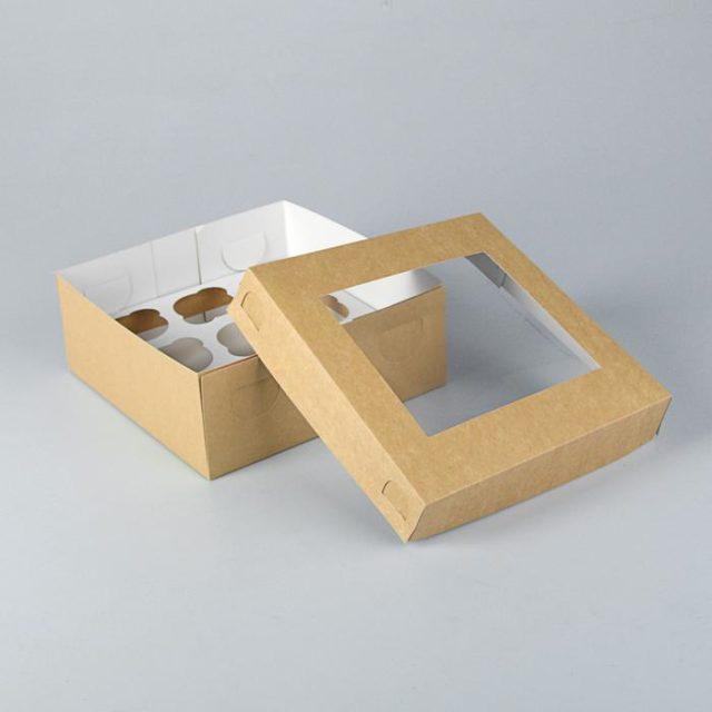 Коробка на 9 капкейков с окном - крафт