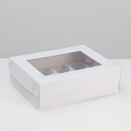 Коробка на 12 капкейков с окном - белая