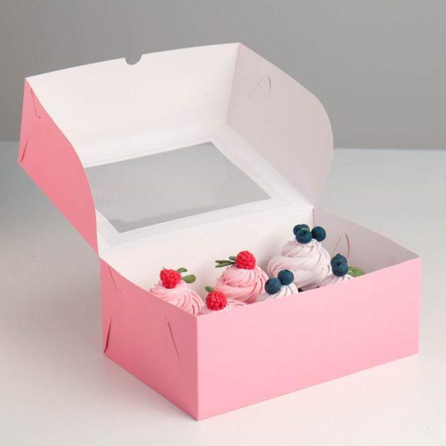 Коробка на 6 капкейков с окном - розовая