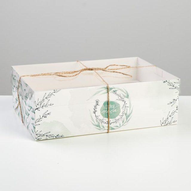 Коробка на 6 капкейков с окном «Для тебя»