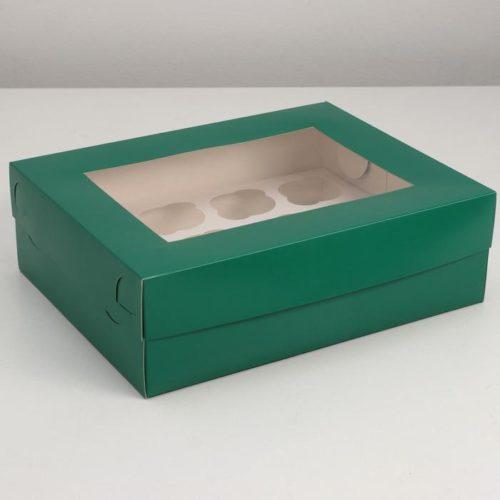 Коробка на 12 капкейков с окном - изумрудная