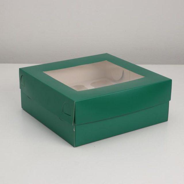 Коробка на 9 капкейков с окном - изумрудная