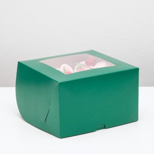 Коробка на 4 капкейка с окном - изумрудная