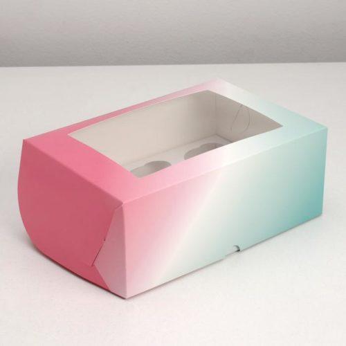 Коробка на 6 капкейков с окном «Градиент»