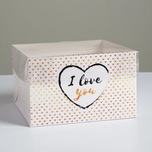 Коробка на 4 капкейка с окном «I Love You»