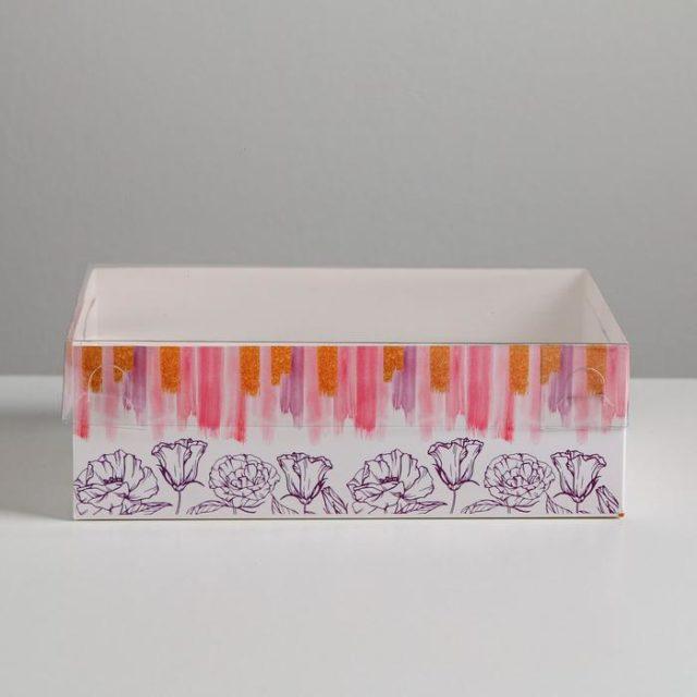 Коробка на 6 капкейков с окном «Flower patterns»
