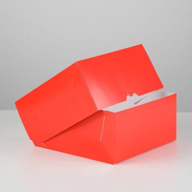 Коробка для торта с окном - красная