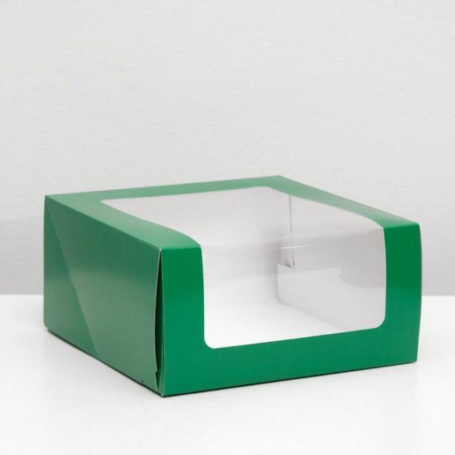 Коробка для торта с окном - тёмно-зелёная